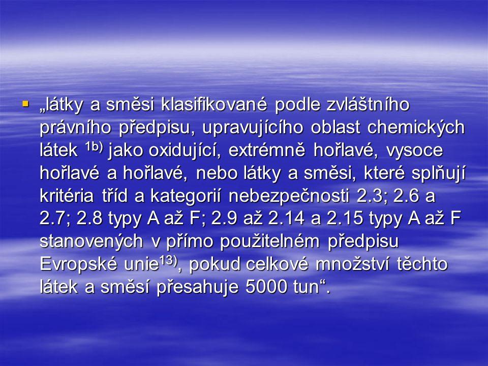 """ """"látky a směsi klasifikované podle zvláštního právního předpisu, upravujícího oblast chemických látek 1b) jako oxidující, extrémně hořlavé, vysoce h"""