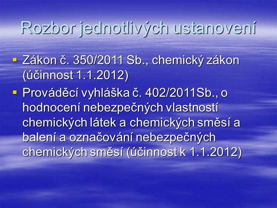 Rozbor jednotlivých ustanovení  Zákon č. 350/2011 Sb., chemický zákon (účinnost 1.1.2012)  Prováděcí vyhláška č. 402/2011Sb., o hodnocení nebezpečný