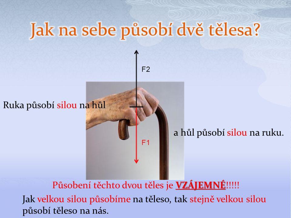 F2 F1 Ruka působí silou na hůl a hůl působí silou na ruku.