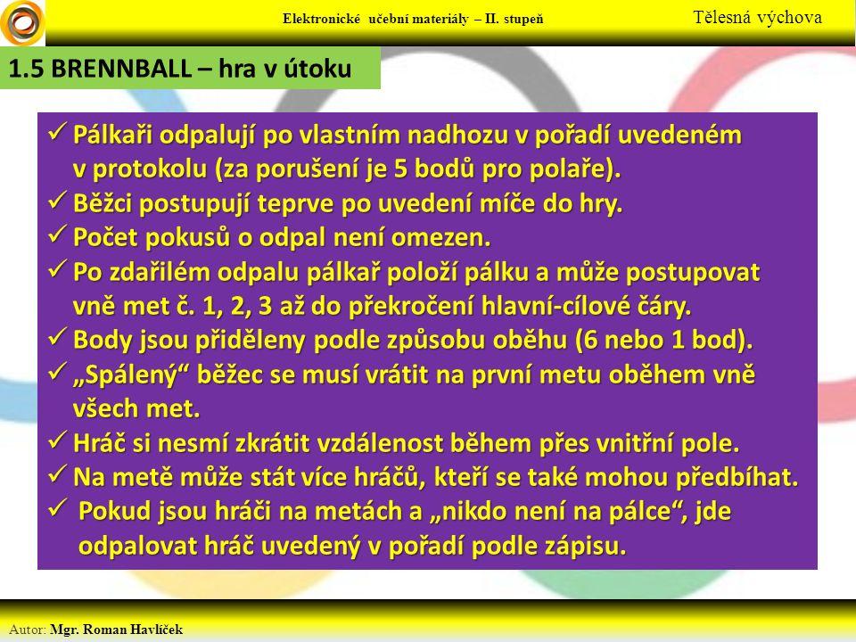 Elektronické učební materiály - … stupeň Předmět Autor: Mgr. Roman Havlíček Elektronické učební materiály – II. stupeň Tělesná výchova 1.5 BRENNBALL –
