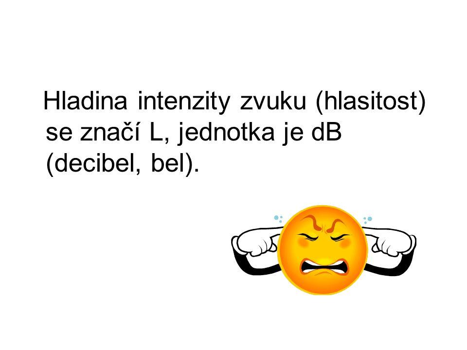 Hladina intenzity zvuku (hlasitost) se značí L, jednotka je dB (decibel, bel).