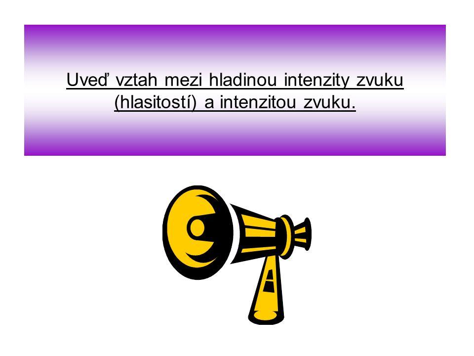 Uveď vztah mezi hladinou intenzity zvuku (hlasitostí) a intenzitou zvuku.