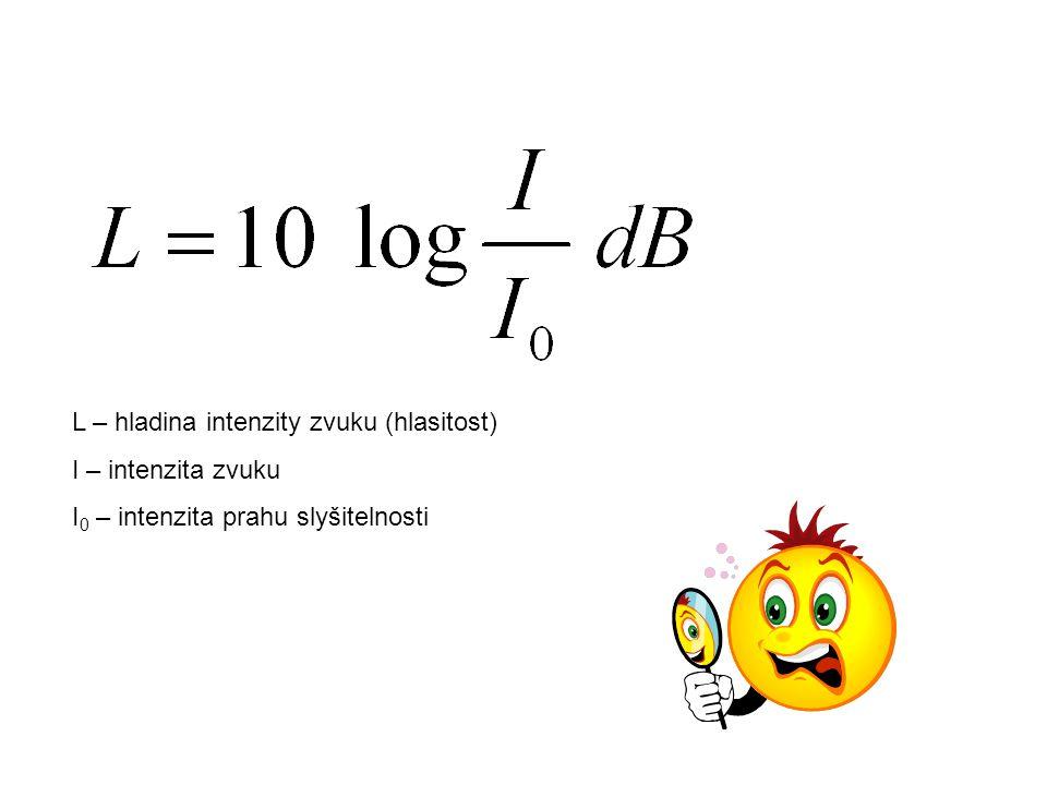 L – hladina intenzity zvuku (hlasitost) I – intenzita zvuku I 0 – intenzita prahu slyšitelnosti
