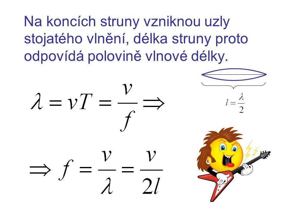 Na koncích struny vzniknou uzly stojatého vlnění, délka struny proto odpovídá polovině vlnové délky.