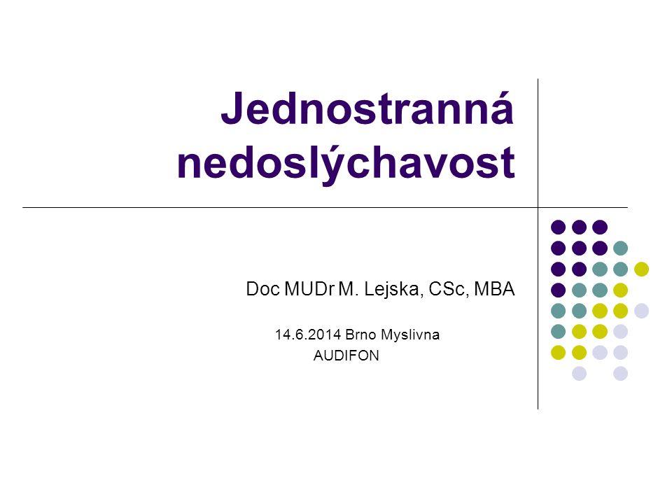 Jednostranná nedoslýchavost Doc MUDr M. Lejska, CSc, MBA 14.6.2014 Brno Myslivna AUDIFON