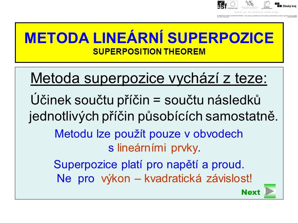 METODA LINEÁRNÍ SUPERPOZICE SUPERPOSITION THEOREM Metoda superpozice vychází z teze: Účinek součtu příčin = součtu následků jednotlivých příčin působících samostatně.