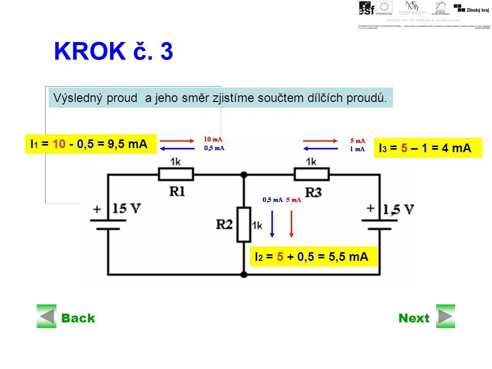 BackNext KROK č. 3 Výsledný proud a jeho směr zjistíme součtem dílčích proudů.