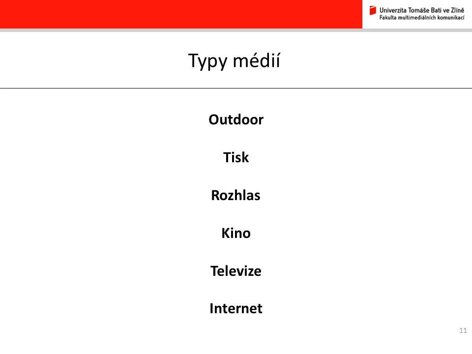 11 Typy médií Outdoor Tisk Rozhlas Kino Televize Internet