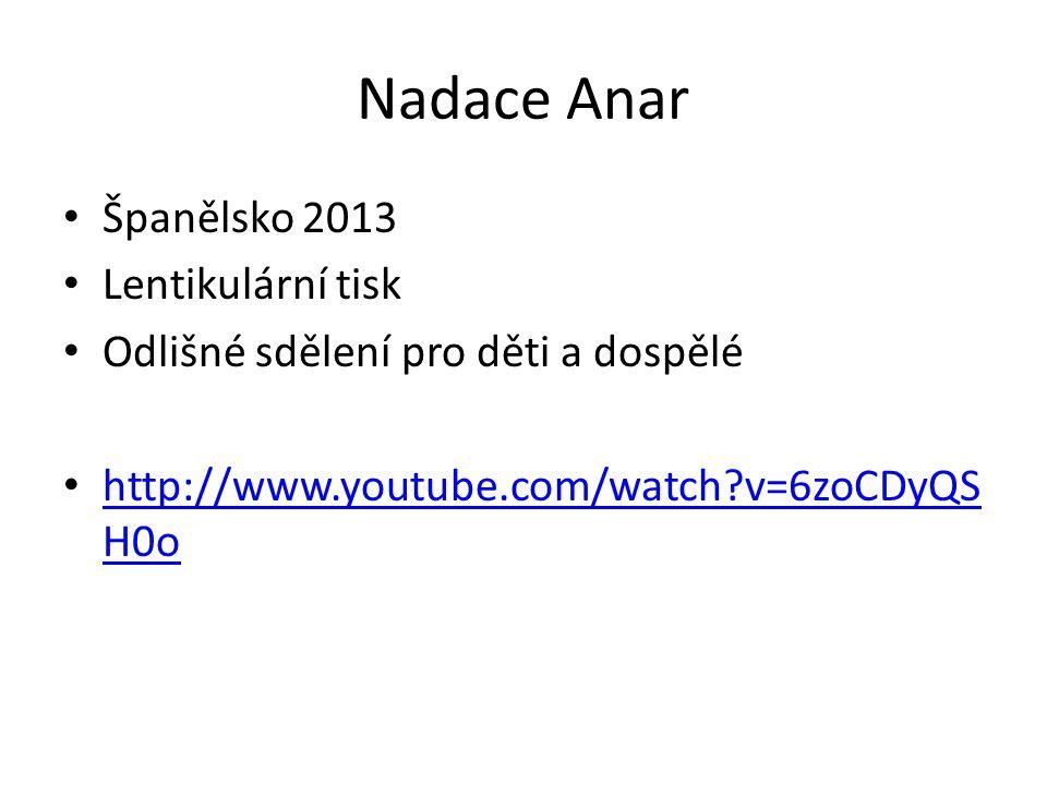 Nadace Anar Španělsko 2013 Lentikulární tisk Odlišné sdělení pro děti a dospělé http://www.youtube.com/watch?v=6zoCDyQS H0o http://www.youtube.com/watch?v=6zoCDyQS H0o