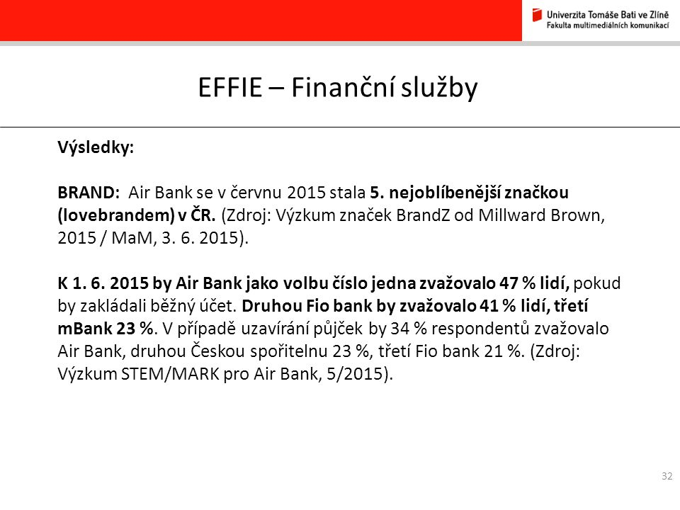 32 EFFIE – Finanční služby Výsledky: BRAND: Air Bank se v červnu 2015 stala 5.