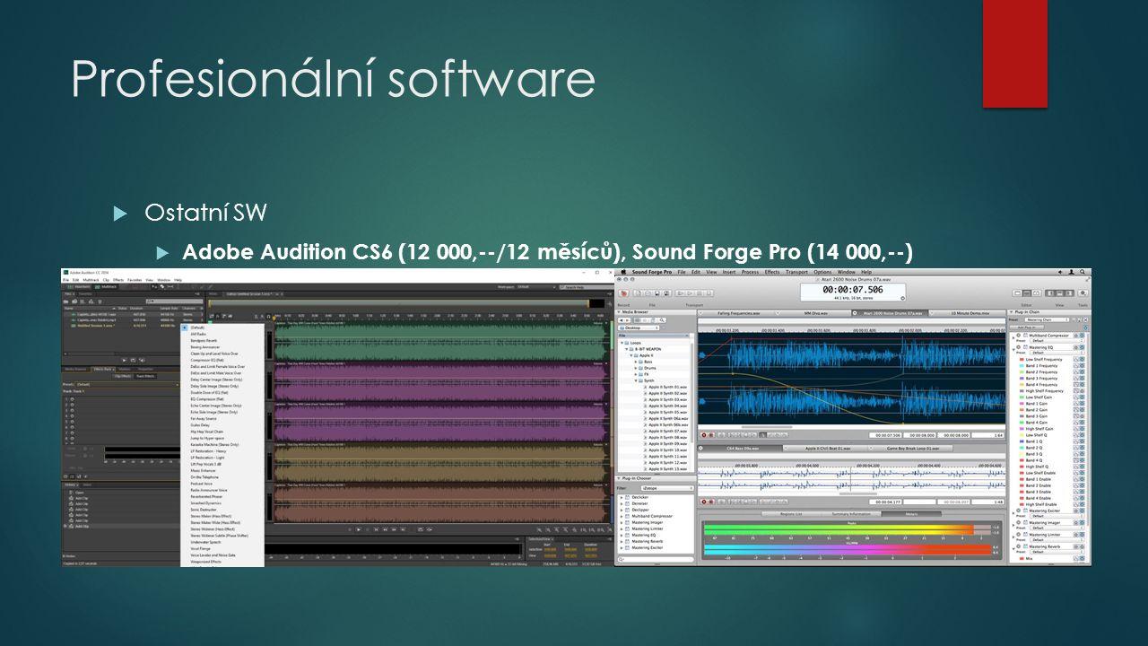  Ostatní SW  Adobe Audition CS6 (12 000,--/12 měsíců), Sound Forge Pro (14 000,--)