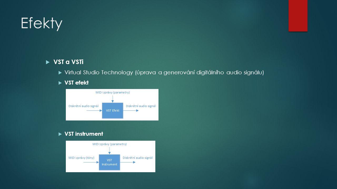 Efekty  VST a VSTi  Virtual Studio Technology (úprava a generování digitálního audio signálu)  VST efekt  VST instrument