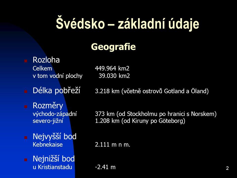 2 Švédsko – základní údaje Rozloha Celkem 449.964 km2 v tom vodní plochy 39.030 km2 Délka pobřeží 3.218 km (včetně ostrovů Gotland a Öland) Rozměry vý