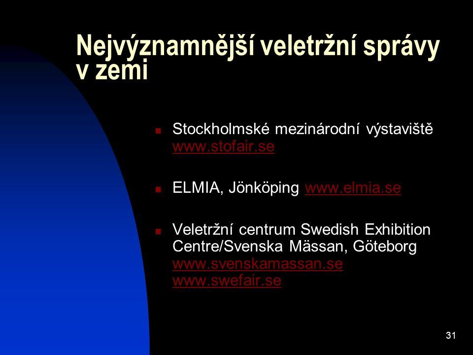 31 Nejvýznamnější veletržní správy v zemi Stockholmské mezinárodní výstaviště www.stofair.se www.stofair.se ELMIA, Jönköping www.elmia.sewww.elmia.se
