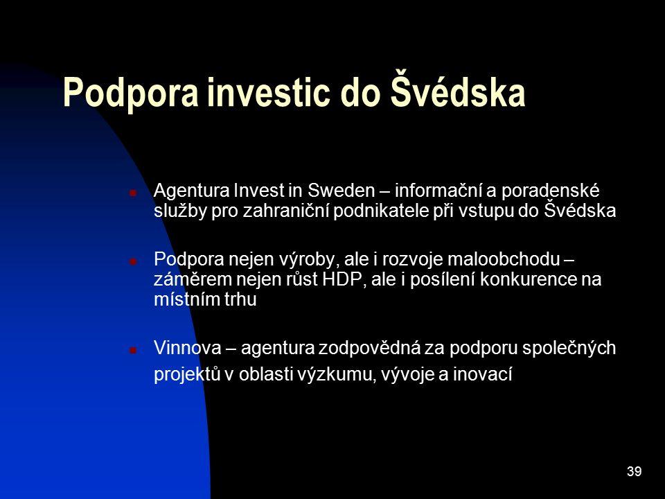 39 Podpora investic do Švédska Agentura Invest in Sweden – informační a poradenské služby pro zahraniční podnikatele při vstupu do Švédska Podpora nej