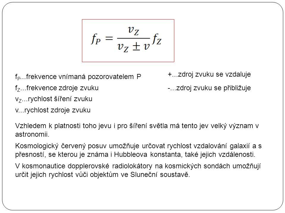 f P...frekvence vnímaná pozorovatelem P f Z...frekvence zdroje zvuku v Z...rychlost šíření zvuku v...rychlost zdroje zvuku +...zdroj zvuku se vzdaluje -...zdroj zvuku se přibližuje Vzhledem k platnosti toho jevu i pro šíření světla má tento jev velký význam v astronomii.