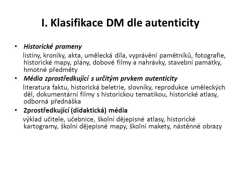 Klasifikace DM dle zdroje smyslového vnímání Textové prostředky 1.slovní – výklad učitele oral history.