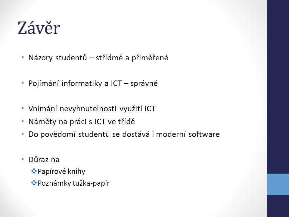 Závěr Názory studentů – střídmé a přiměřené Pojímání informatiky a ICT – správné Vnímání nevyhnutelnosti využití ICT Náměty na práci s ICT ve třídě Do povědomí studentů se dostává i moderní software Důraz na  Papírové knihy  Poznámky tužka-papír