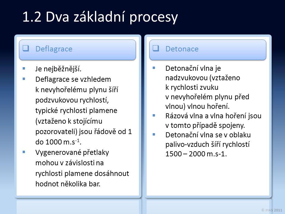 © IHAS 2011 1.2 Dva základní procesy  Deflagrace  Je nejběžnější.