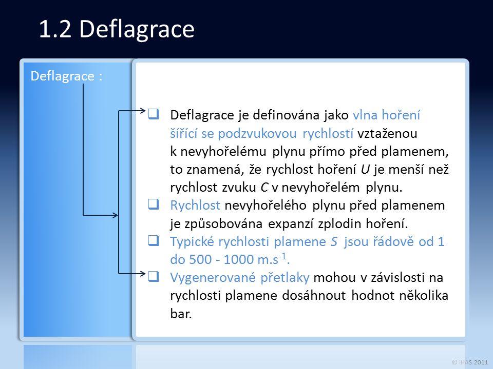 © IHAS 2011 1.2 Deflagrace  Deflagrace je definována jako vlna hoření šířící se podzvukovou rychlostí vztaženou k nevyhořelému plynu přímo před plamenem, to znamená, že rychlost hoření U je menší než rychlost zvuku C v nevyhořelém plynu.