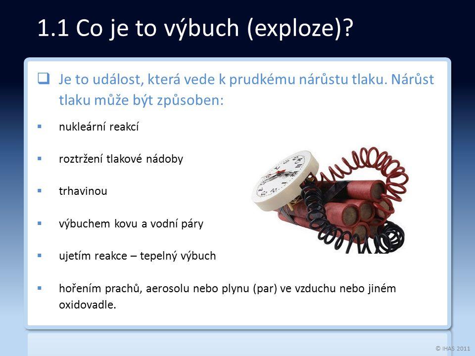 © IHAS 2011 1.1 Co je to výbuch (exploze).  Je to událost, která vede k prudkému nárůstu tlaku.