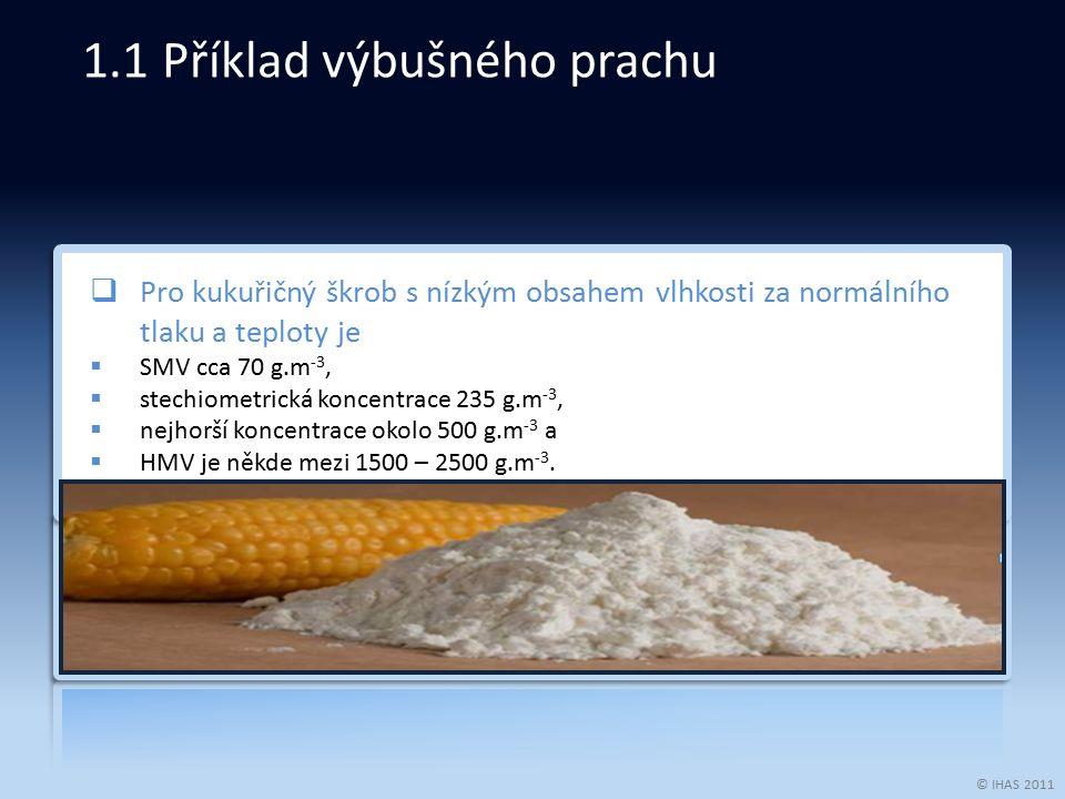 © IHAS 2011  Pro kukuřičný škrob s nízkým obsahem vlhkosti za normálního tlaku a teploty je  SMV cca 70 g.m -3,  stechiometrická koncentrace 235 g.m -3,  nejhorší koncentrace okolo 500 g.m -3 a  HMV je někde mezi 1500 – 2500 g.m -3.