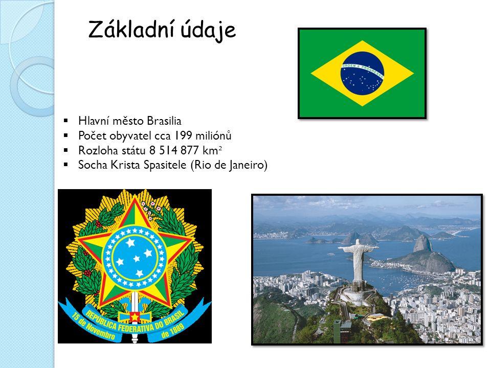 Základní údaje  Hlavní město Brasilia  Počet obyvatel cca 199 miliónů  Rozloha státu 8 514 877 km ²  Socha Krista Spasitele (Rio de Janeiro)