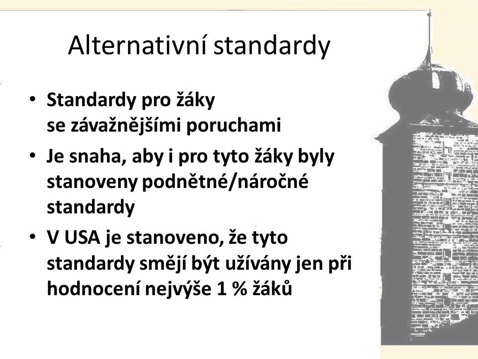 Alternativní standardy Standardy pro žáky se závažnějšími poruchami Je snaha, aby i pro tyto žáky byly stanoveny podnětné/náročné standardy V USA je stanoveno, že tyto standardy smějí být užívány jen při hodnocení nejvýše 1 % žáků