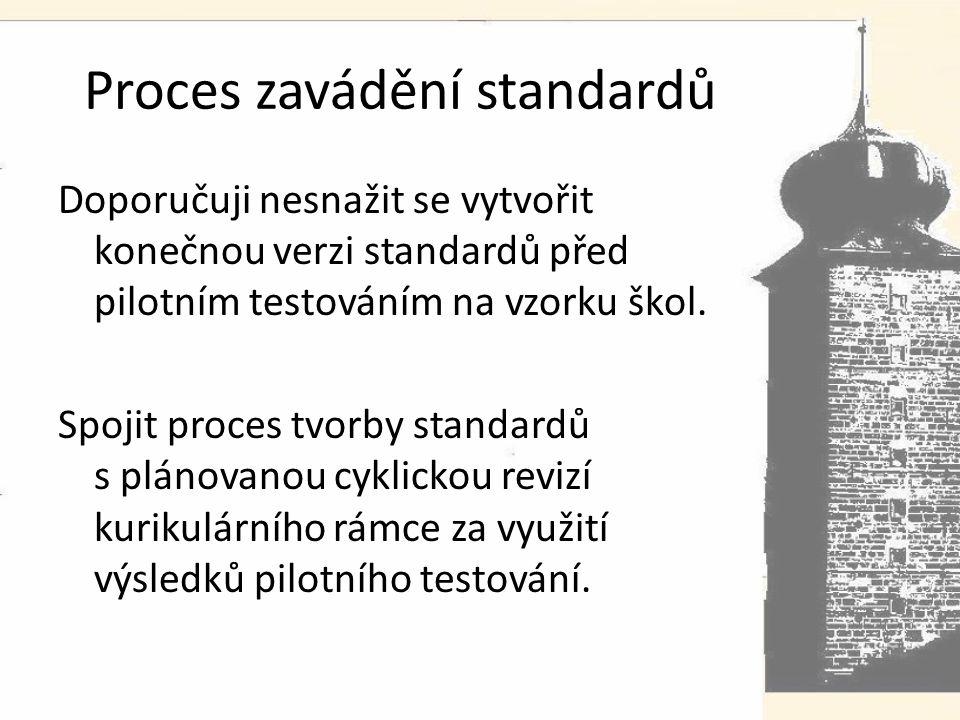 Proces zavádění standardů Doporučuji nesnažit se vytvořit konečnou verzi standardů před pilotním testováním na vzorku škol.