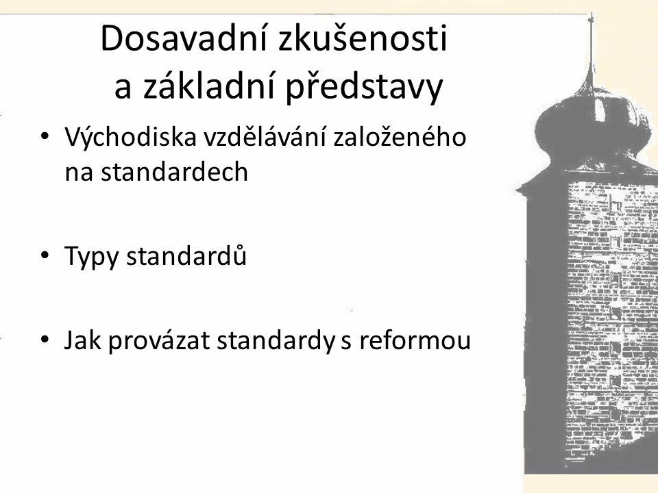 Dosavadní zkušenosti a základní představy Východiska vzdělávání založeného na standardech Typy standardů Jak provázat standardy s reformou
