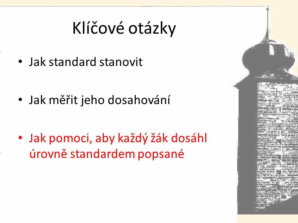 Klíčové otázky Jak standard stanovit Jak měřit jeho dosahování Jak pomoci, aby každý žák dosáhl úrovně standardem popsané