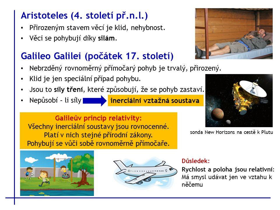 Aristoteles (4. století př.n.l.) Přirozeným stavem věcí je klid, nehybnost.