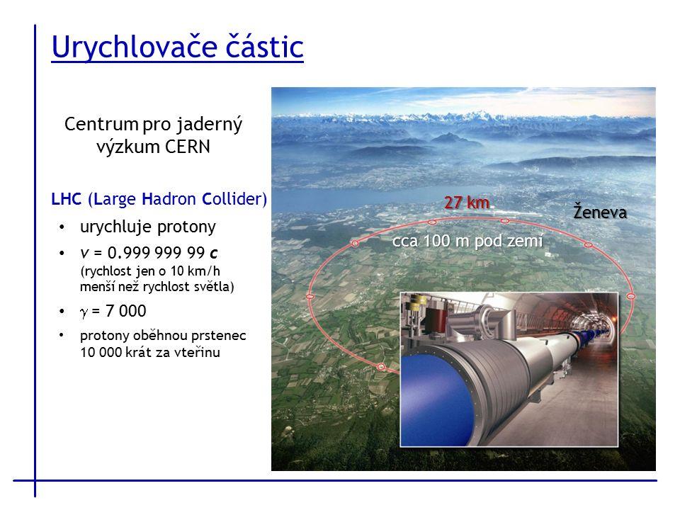 Urychlovače částic LHC (Large Hadron Collider) 27 km cca 100 m pod zemí urychluje protony v = 0.999 999 99 c (rychlost jen o 10 km/h menší než rychlost světla)  = 7 000 protony oběhnou prstenec 10 000 krát za vteřinu Ženeva Centrum pro jaderný výzkum CERN