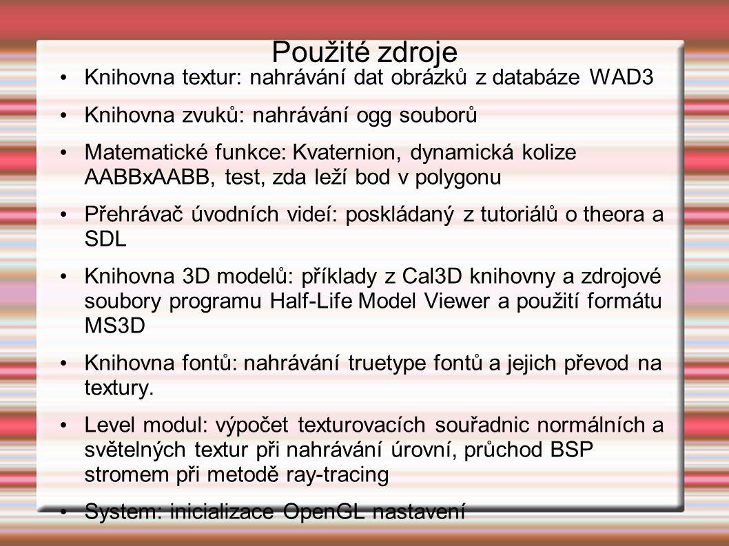 Knihovna textur: nahrávání dat obrázků z databáze WAD3 Knihovna zvuků: nahrávání ogg souborů Matematické funkce: Kvaternion, dynamická kolize AABBxAABB, test, zda leží bod v polygonu Přehrávač úvodních videí: poskládaný z tutoriálů o theora a SDL Knihovna 3D modelů: příklady z Cal3D knihovny a zdrojové soubory programu Half-Life Model Viewer a použití formátu MS3D Knihovna fontů: nahrávání truetype fontů a jejich převod na textury.