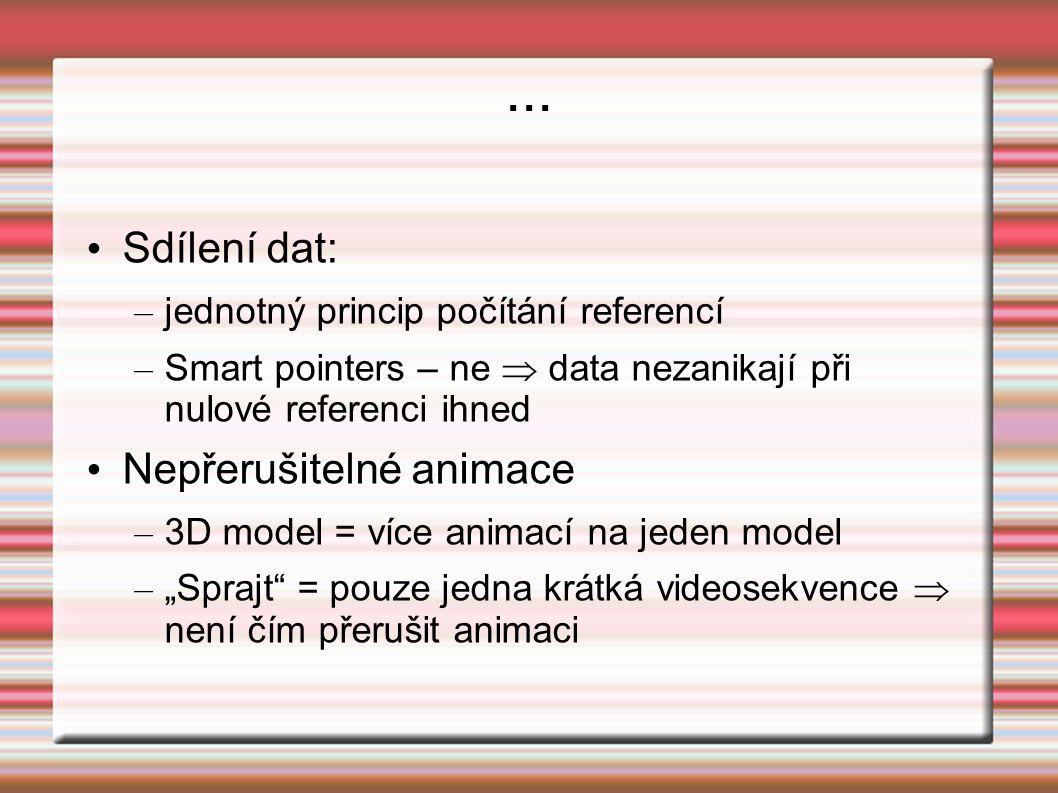 ... Sdílení dat: – jednotný princip počítání referencí – Smart pointers – ne  data nezanikají při nulové referenci ihned Nepřerušitelné animace – 3D