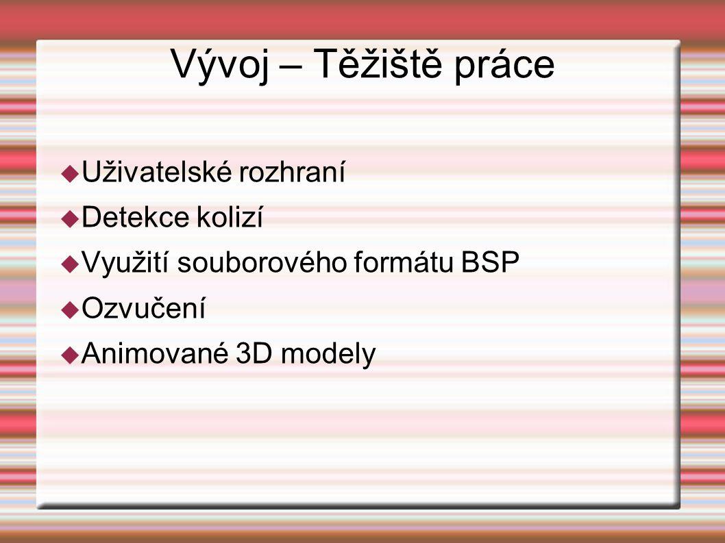 Vývoj – Těžiště práce  Uživatelské rozhraní  Detekce kolizí  Využití souborového formátu BSP  Ozvučení  Animované 3D modely