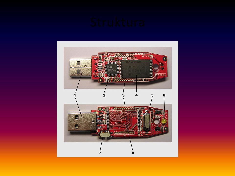 Dodatek k obrázku struktura 1USB konektor 2Mass storage controller 3Testovací kontakty 4Flash paměť 5Krystalový oscilátor 6LED 7Zámek 8Místo pro druhý paměťový modul