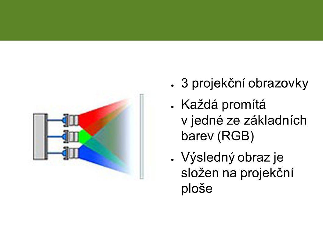 ● 3 projekční obrazovky ● Každá promítá v jedné ze základních barev (RGB) ● Výsledný obraz je složen na projekční ploše CRT projekce