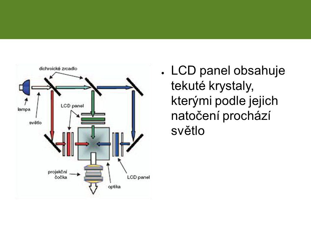 ● LCD panel obsahuje tekuté krystaly, kterými podle jejich natočení prochází světlo LCD projekce