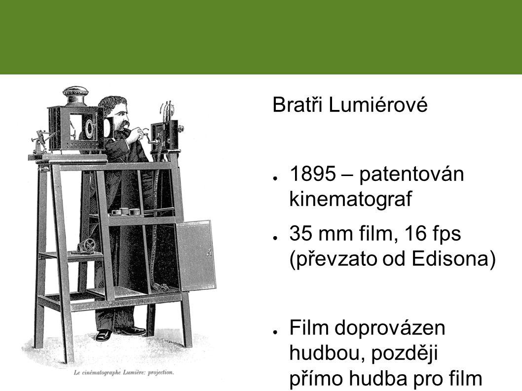 Bratři Lumiérové ● 1895 – patentován kinematograf ● 35 mm film, 16 fps (převzato od Edisona) ● Film doprovázen hudbou, později přímo hudba pro film Historický vývoj