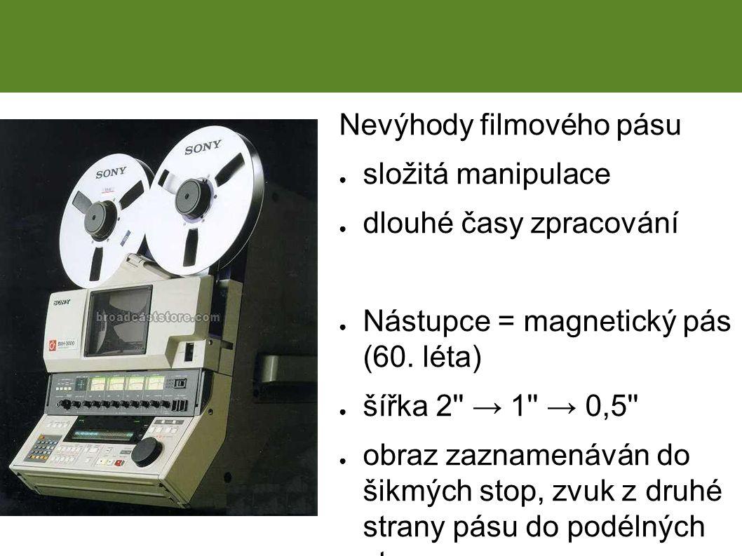 Nevýhody filmového pásu ● složitá manipulace ● dlouhé časy zpracování ● Nástupce = magnetický pás (60.