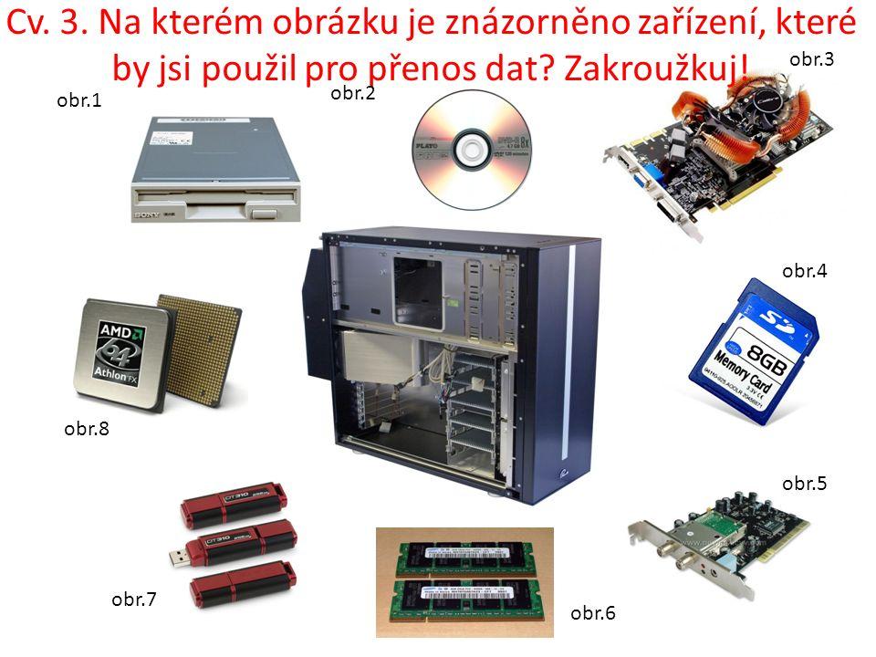 Cv. 3. Na kterém obrázku je znázorněno zařízení, které by jsi použil pro přenos dat.