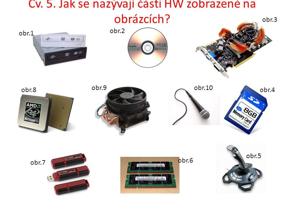 Cv. 5. Jak se nazývají části HW zobrazené na obrázcích.