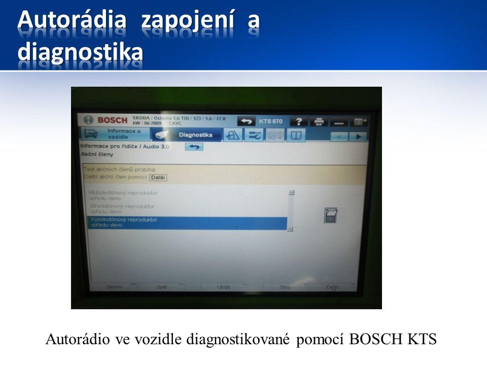 Autorádio ve vozidle diagnostikované pomocí BOSCH KTS
