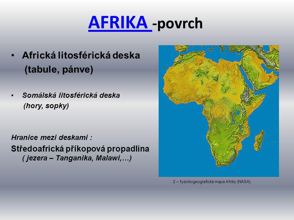 AFRIKA AFRIKA -povrch Africká litosférická deska (tabule, pánve) Somálská litosférická deska (hory, sopky) Hranice mezi deskami : Středoafrická příkop