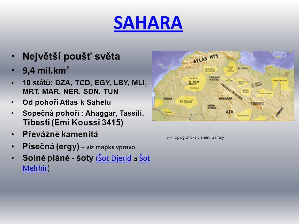 SAHARA Největší poušť světa 9,4 mil.km 2 10 států: DZA, TCD, EGY, LBY, MLI, MRT, MAR, NER, SDN, TUN Od pohoří Atlas k Sahelu Sopečná pohoří : Ahaggar, Tassili, Tibesti (Emi Koussi 3415) Převážně kamenitá Písečná (ergy) – viz mapka vpravo Solné pláně - šoty (Šot Djerid a Šot Melrhir) (Šot DjeridŠot Melrhir 5 – topografické členění Sahary