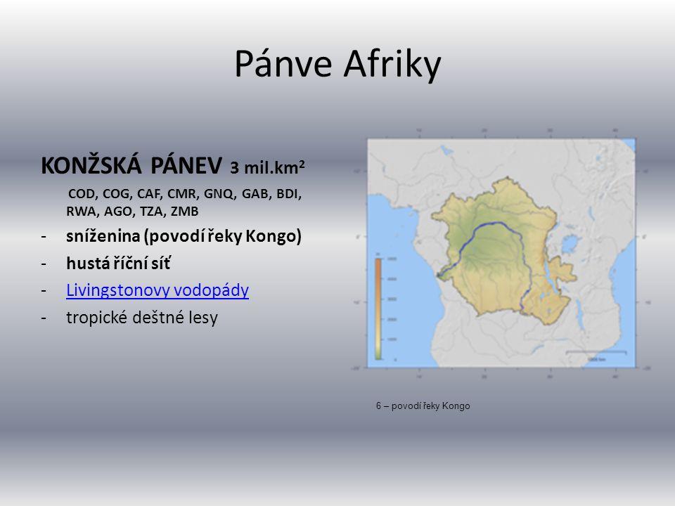 Pánve Afriky KONŽSKÁ PÁNEV 3 mil.km 2 COD, COG, CAF, CMR, GNQ, GAB, BDI, RWA, AGO, TZA, ZMB -sníženina (povodí řeky Kongo) -hustá říční síť -Livingsto
