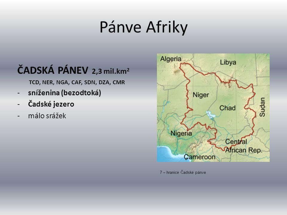 Pánve Afriky ČADSKÁ PÁNEV 2,3 mil.km 2 TCD, NER, NGA, CAF, SDN, DZA, CMR -sníženina (bezodtoká) -Čadské jezero -málo srážek 7 – hranice Čadské pánve