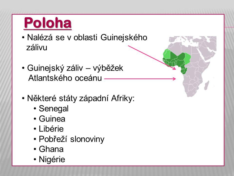 Poloha Nalézá se v oblasti Guinejského zálivu Guinejský záliv – výběžek Atlantského oceánu Některé státy západní Afriky: Senegal Guinea Libérie Pobřeží slonoviny Ghana Nigérie