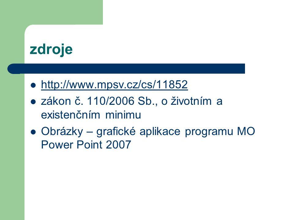 zdroje http://www.mpsv.cz/cs/11852 zákon č. 110/2006 Sb., o životním a existenčním minimu Obrázky – grafické aplikace programu MO Power Point 2007